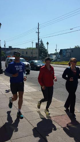 Susan Sauve Catches Sebastien Sasseville in Cornwall Ontario for his Out Run Diabetes Trek