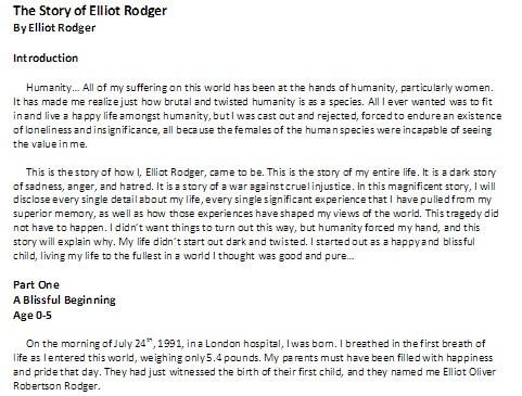 elliot rodger manifesto 1