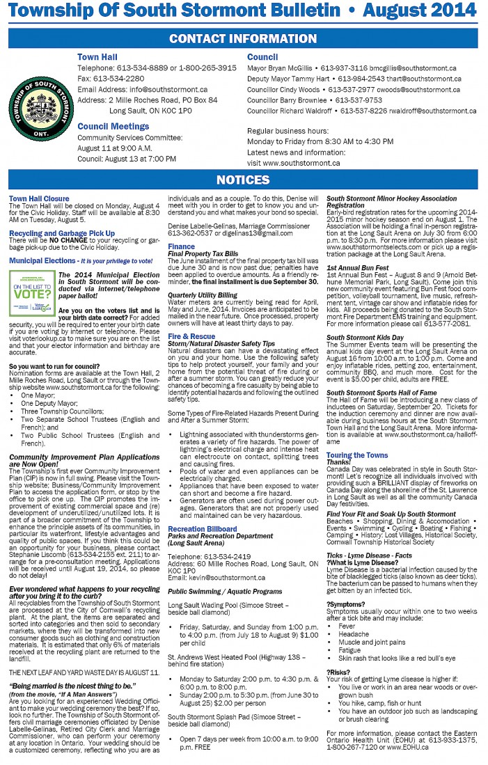 Township Of South Stormont Ontario Bulletin – August 2014 – Check Them Out On Facebook Now Too!