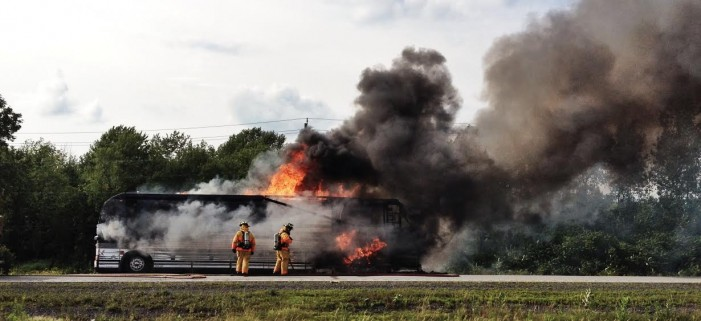 OPP Blotter for July 22, 2014 – FIRE STRIKES BUS NEAR UPPER CANADA VILLAGE