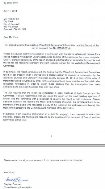 Cornwall Ontario Mayor & Council to Answer for Illegal In Camera Committee Session re: Fournier Report Monday Aug 11, 2014