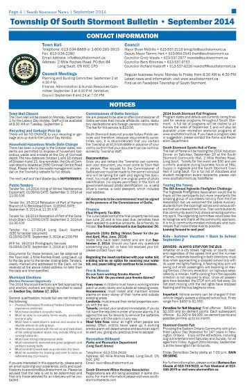 Township Of South Stormont Ontario Bulletin – September 2014 – Check Them Out On Facebook Now Too!