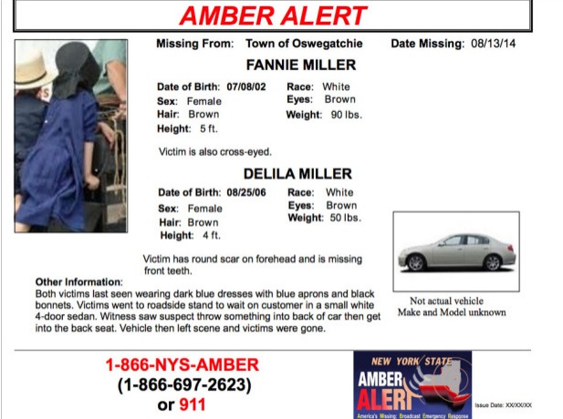 NYS AMBER ALERT Child Abduction Fanny & Delila Miller NORTHERN NYS & ONTARIO Aug 15, 2014  FOUND!