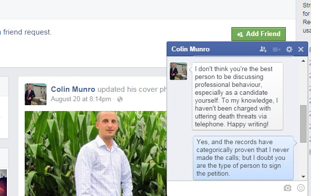 South Glengarry Council Candidate Colin Munro Joins Facebook Hate Group – Sept. 15, 2014