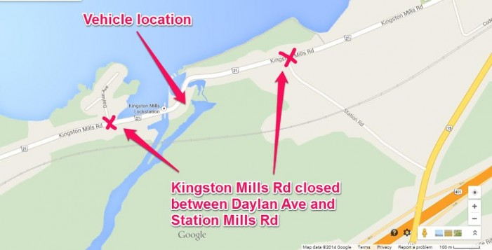 Road Closed at Kingston Mills Locks due to Vehicle Collision in Kingston Ontario  – #KPS Sept 21, 2014