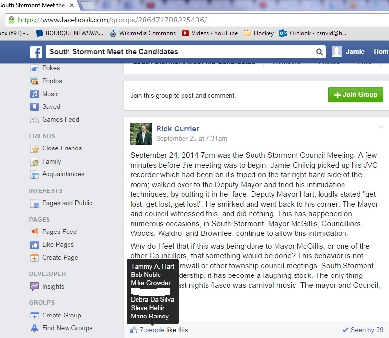 sept 26 FACEBOOK south stormont candidates group CURRIER  likes HART