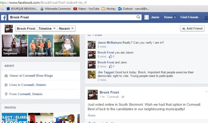 South Stormont Resident Brock Frost Runs for Council Seat in Cornwall Ontario – Oct 27, 2014