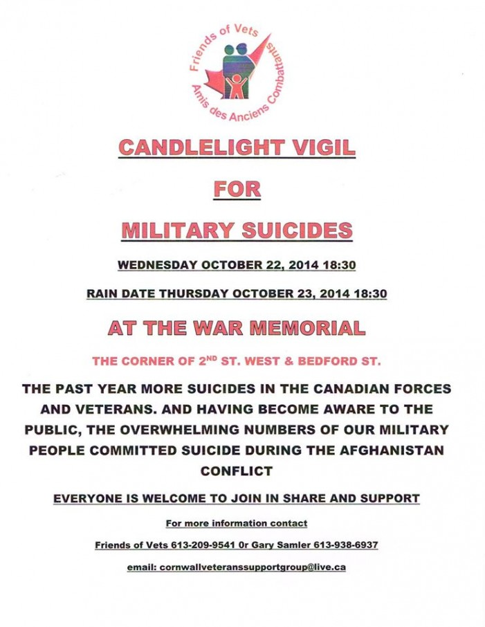 Candle Light Vigil for Vets in Cornwall Ontario Postponed after Ottawa Shooting – Oct 22, 2014  #CCPS