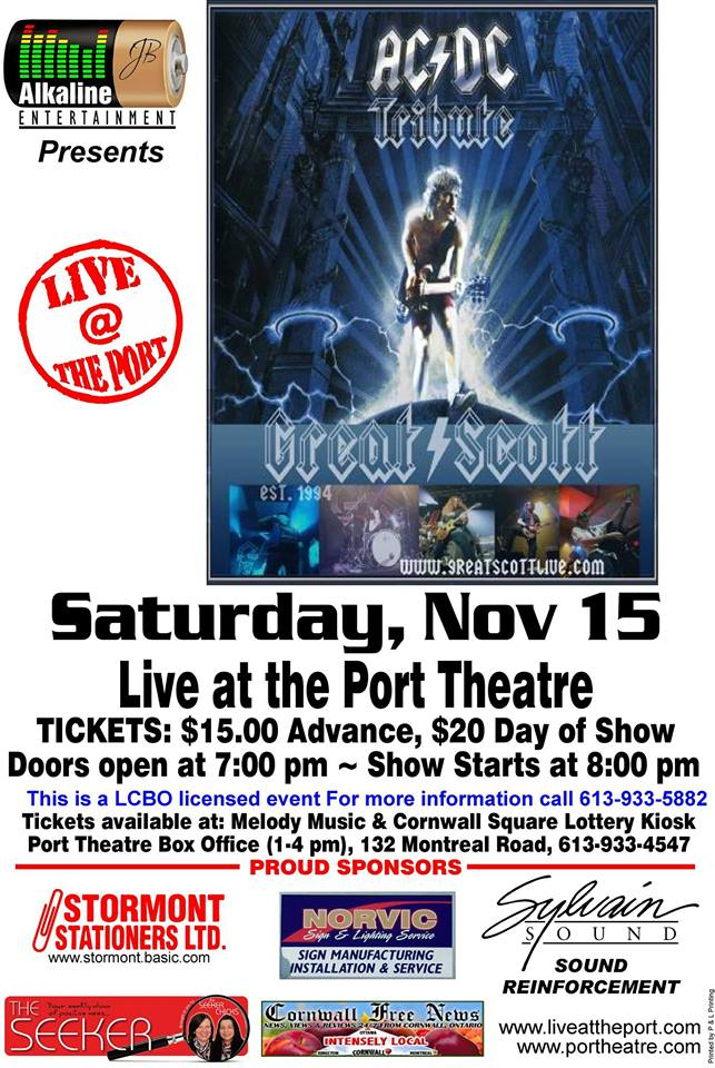 AC DC Tribute & Paulie & the Goodfellas UPCOMING LIVE SHOWS @ The Port Theatre in Cornwall Ontario!