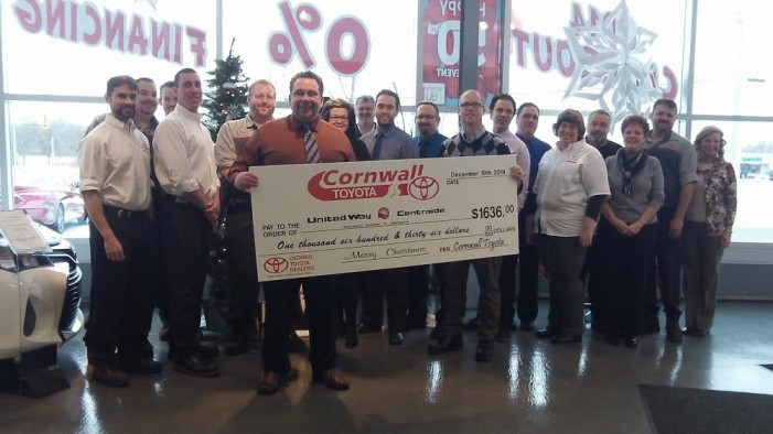 Cornwall Toyota Comes up BIG for SD&G United Way – DEC 19, 2014
