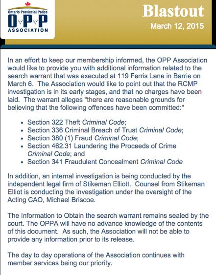 OPPA Sends Missive Over RCMP Investigation – MARCH 13, 2015 #OPP #OPPA #RCMP