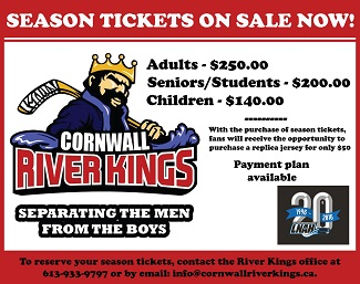 Cornwall River Kings Home Opener Tonight at the Civic Complex – OCT 10, 2015