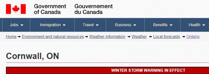 Environment Canada Alert for Cornwall Ontario  20-35cm of Snow DEC 28, 2015