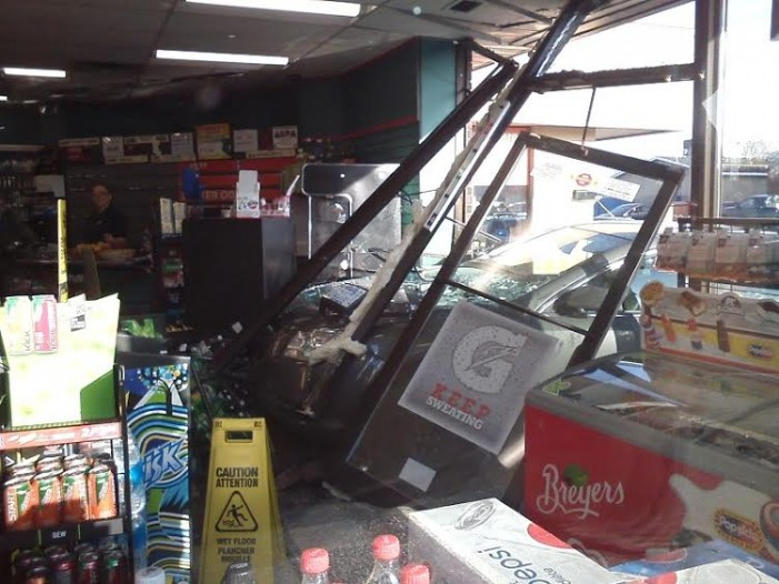 Chevy Malibu Crashes Into Mac's Convenience Window in Cornwall Ontario – DEC 6, 2015