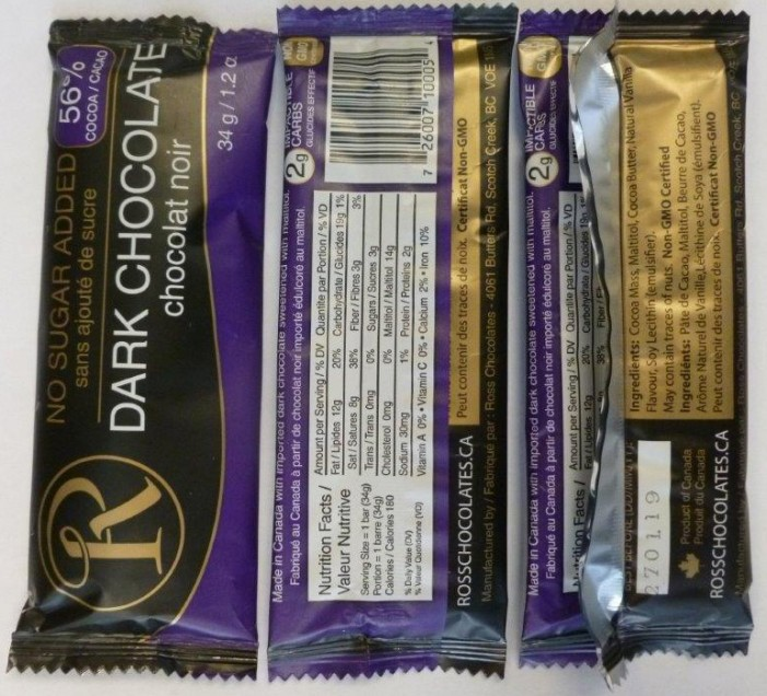 ROSS CHOCOLATES No Sugar Dark Chocolate RECALL March 25, 2016 #CFIA