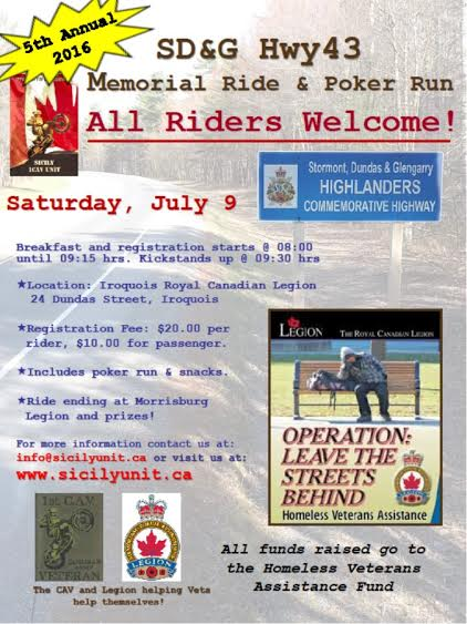 5th Stormont, Dundas & Glengarry Canadian Army Vets Hwy 43 Memorial Ride  JULY 9, 2016