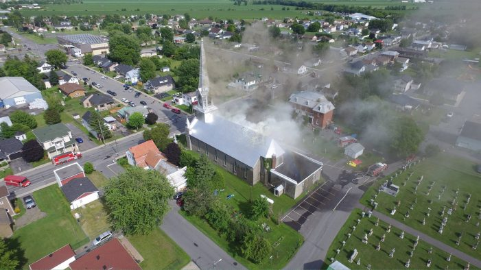 FIRE Guts Historic Catholic Church in St. Isidore Ontario JULY 23, 2016