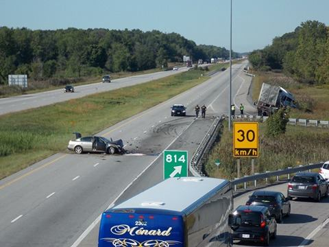 BREAKING Collision 401 W at Lancaster Exit – Sept 3, 2016