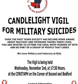 3rd Friends of Vets Vigil for Veterans & Soldiers With PTSD in Cornwall NOV 2, 2016