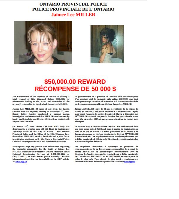 OPP Release Reward Offer $50K for Assistance in Jaimee Lee Miller Homicide  OCT 7, 2016