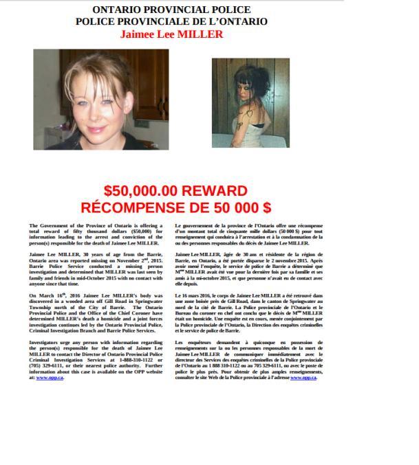 OPP Release Reward Offer $50K for Assistance in Jaimee Lee Miller Homicide  OCT 7, 2016