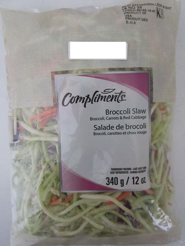Sobey's Compliments Broccoli Slaw LISTERIA RECALL Nov 29, 2016