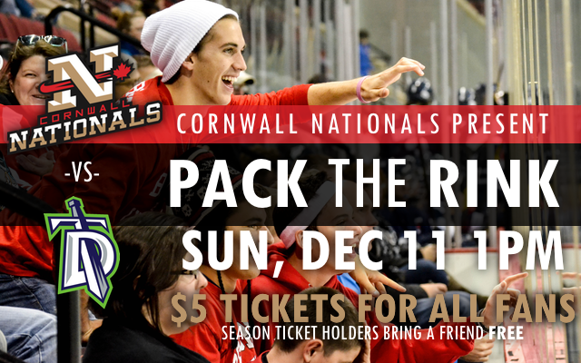 Sunday Cornwall Nats Game Only $5 per Ticket!  DEC 11, 2016