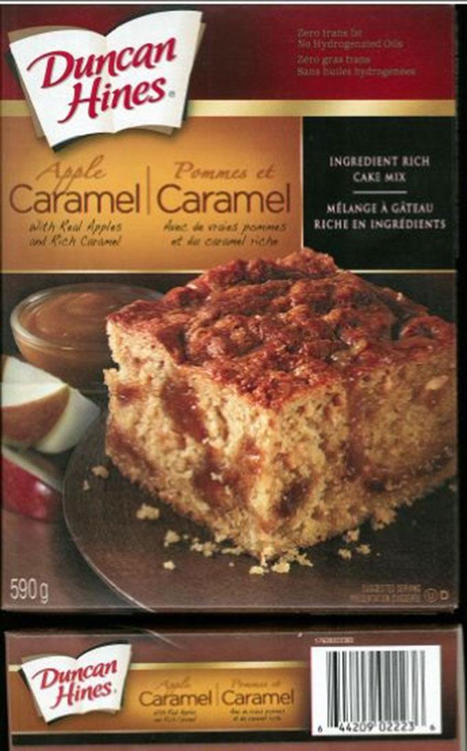 DUNCAN HINES Apple Caramel Cake Mix SALMONELLA Recall CFIA Dec 16, 2016