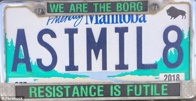 JCCF to Rescue After Manitoba Pulls Star Trek ASIMIL8 Personal Licence Plate MAY 31, 2017