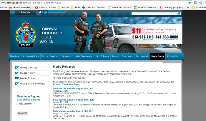 Was There No Crime in Cornwall for 5 Days?  No Reports From CCPS 081728