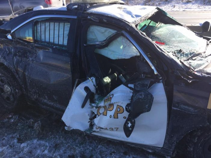 #OPP Officer Survives Tractor Trailer Collision Near Belleville 401 121717