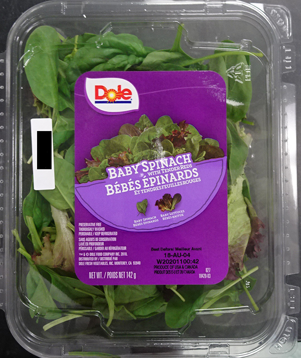 CFIA RECALL Dole Baby Spinach w Tender Reds LISTERIA 080818
