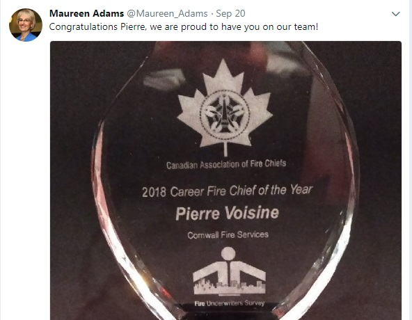 Cornwall CAO Confirms She Nominated Voisine For Fire Chief Award on Public Dime 102918