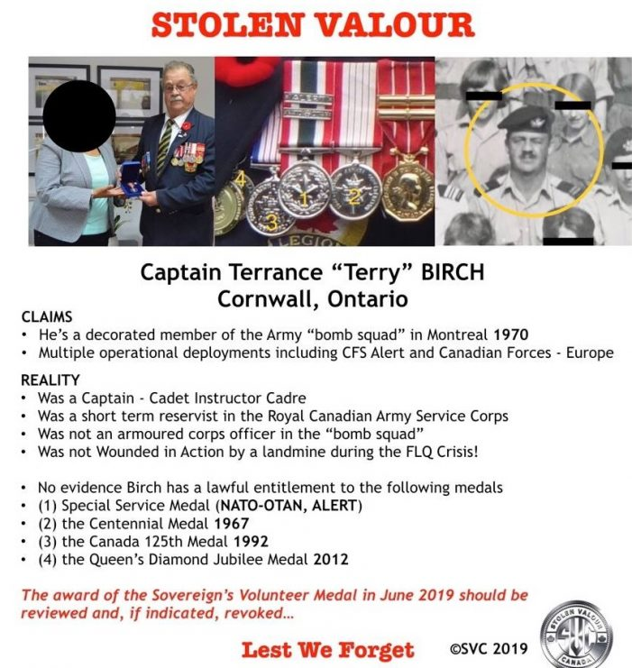 Stolen Valour Canada Responds to Terry Birch Story & CFN FILES 082219