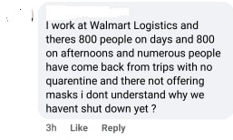 Walmart Logistics Distribution Worker Posts COVID 19 Fear in Cornwall Ontario. By Jamie Gilcig 031920