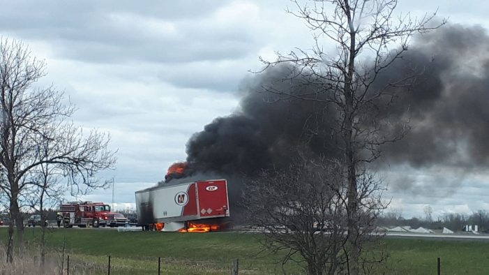 BREAKING – Tractor Trailer Fire on 401 Near Ingleside MAY 16, 2020