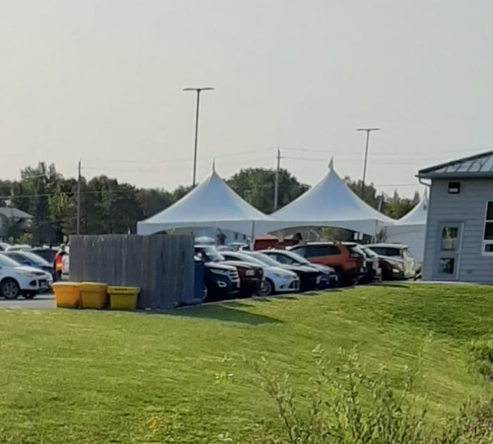 Immense Line for Drive Thru COVID-19 Testing in Casselman Ontario